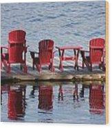 Red Muskoka Chairs Wood Print