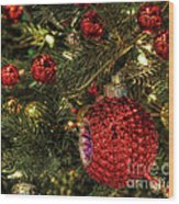 Red On A Green Christmas Tree Wood Print