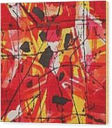 Red Orange Abstract Wood Print