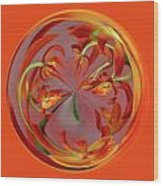 Red Orange Orchid Orb Wood Print