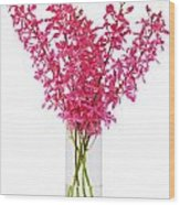 Red Orchid In Vase Wood Print