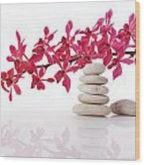 Red Orchid With Balance Stone Wood Print
