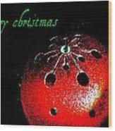 Red Ornament Wood Print