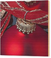 Red Ornaments Wood Print