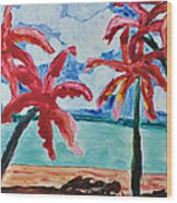Red Palms Wood Print