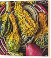 Red Pear And Gourds Wood Print