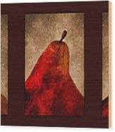 Red Pear Triptych Wood Print