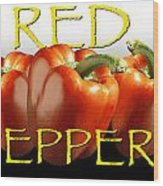Red Peppers On White And Black Wood Print