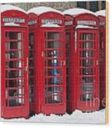 Red Phone Boxes Wood Print