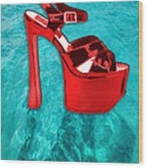 Red Platform Divers Wood Print