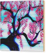 Red Plum Oriental Influence Wood Print