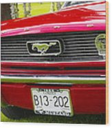 Red Pony Car Wood Print