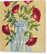 Red Poppies In A Vase Wood Print