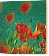 Red Poppy Flowers 07 Wood Print