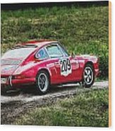 Red Porsche Running Away Wood Print