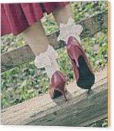 Red Pumps Wood Print by Joana Kruse