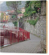 Red Rail Walkway To Varenna Along Lake Como Wood Print