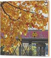Red Railroad Trestle Wood Print