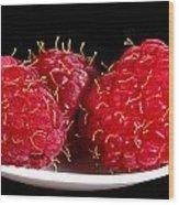 Red Raspberries On A White Spoon Against Black No.0102 Wood Print