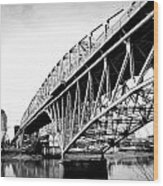 Red River Bridge Black And White Wood Print