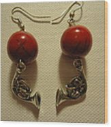Red Rocker French Horn Earrings Wood Print by Jenna Green