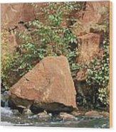 Red Rocks, Fall Colors And Creek, Oak Wood Print