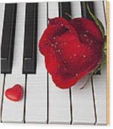 Red Rose And Candy Heart Wood Print