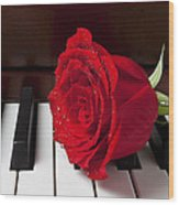 Red Rose On Piano Wood Print