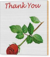 Red Rose Thank You Card Wood Print