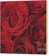 Red Roses And Water Drops Wood Print