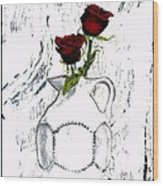 Red Roses With Green Leaves Wood Print