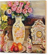 Red Roses Yellow Daffodils In Hand Painted Oriental Antique Vases With Fruit Plate Doves And Angels Wood Print