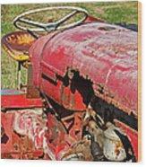 Red Rusty Beach Tractor Wood Print