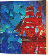 Red Sail Wood Print