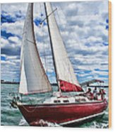 Red Sailboat Green Sea Blue Sky Wood Print