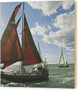 Red-sailed Sailboat And Others Wood Print