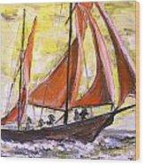 Red Sailing Boat  Wood Print