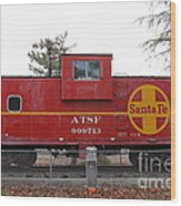 Red Sante Fe Caboose Train . 7d10328 Wood Print