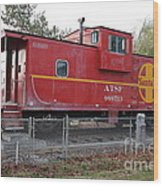 Red Sante Fe Caboose Train . 7d10329 Wood Print by Wingsdomain Art and Photography