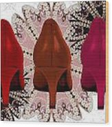 Red Shoes In Shades Of Red Wood Print by Maralaina Holliday