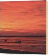 'red Skies At Morning Sailors Take Warning' Wood Print