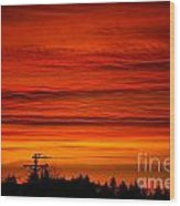 Red Skies At Night Wood Print