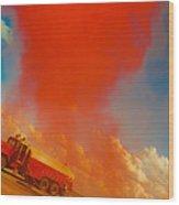 Red Smoke Wood Print