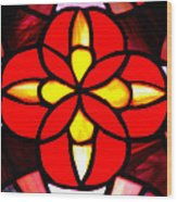 Red Stained Glass Wood Print