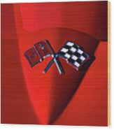 Red Stingray Badge Wood Print