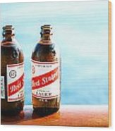 Red Stripe Wood Print