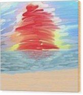 Red Sun Setting Wood Print by Heidi Smith
