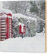 Red Telephone And Post Box In The Snow Wood Print