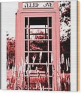 Red Telephone Booth In A Field In Maine Wood Print