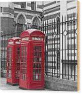 Red Telephone Boxes Wood Print